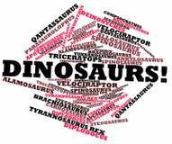 Nube de la palabra para los dinosaurios Imagen de archivo libre de regalías