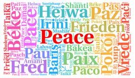 Nube de la palabra de la paz en otros idiomas ilustración del vector