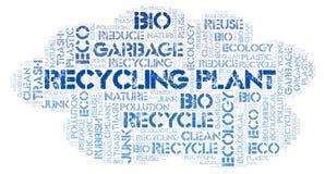 Nube de la palabra de la planta de reciclaje imagen de archivo