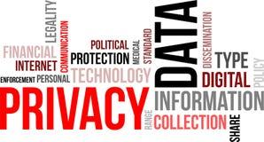 Nube de la palabra - privacidad de datos Foto de archivo libre de regalías