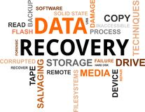 Nube de la palabra - recuperación de los datos Fotografía de archivo libre de regalías