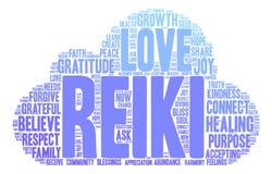 Nube de la palabra de Reiki Imagenes de archivo