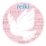 Nube de la palabra de Reiki Imágenes de archivo libres de regalías