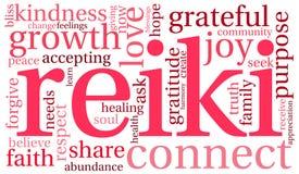 Nube de la palabra de Reiki Foto de archivo libre de regalías