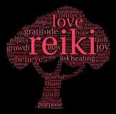 Nube de la palabra de Reiki Fotos de archivo libres de regalías