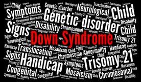 Nube de la palabra de Síndrome de Down Imagen de archivo libre de regalías
