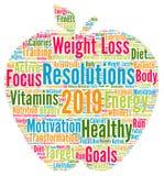 Nube 2019 de la palabra de la salud de las resoluciones stock de ilustración