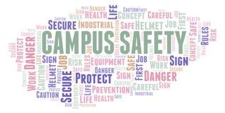Nube de la palabra de la seguridad del campus stock de ilustración