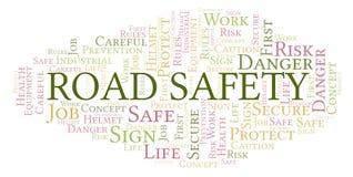 Nube de la palabra de la seguridad en carretera stock de ilustración