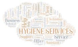 Nube de la palabra de servicios de la higiene stock de ilustración