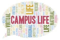 Nube de la palabra de la vida del campus ilustración del vector
