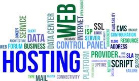Nube de la palabra - web hosting Fotografía de archivo