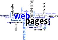 Nube de la palabra - Web pages Imagenes de archivo