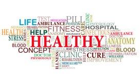 Nube de las etiquetas de la salud y del cuidado Fotos de archivo
