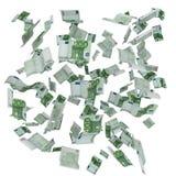 Nube de las notas del euro del vuelo Imagen de archivo libre de regalías