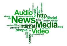 Nube de las noticias y de la palabra del â de los media Imagen de archivo libre de regalías