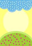 Nube de lluvia sobre tarjeta de felicitación del campo de flor stock de ilustración