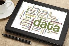 Nube de los datos y de los datos de la información Imagenes de archivo