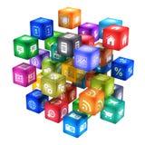 Nube de los iconos de la aplicación móvil ilustración del vector