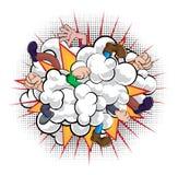 Nube de polvo de la lucha del cómic de la historieta Foto de archivo