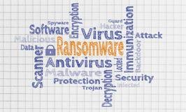 Nube de Ransomware en concepto de la libreta imagen de archivo