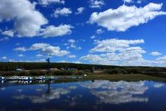 Nube del cielo blu Immagine Stock