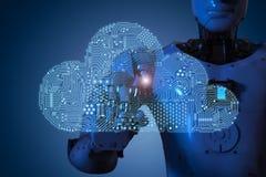 Nube del circuito con el robot stock de ilustración