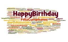Nube del feliz cumpleaños Imágenes de archivo libres de regalías
