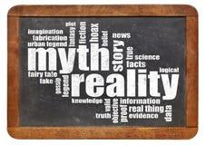 Nube del mito y de la palabra de la realidad imágenes de archivo libres de regalías