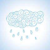 Nube del rizo con la lluvia - ejemplo del vector Imagen de archivo libre de regalías
