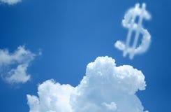 Nube del segno del dollaro Fotografie Stock Libere da Diritti