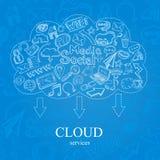 Nube del Social del garabato Foto de archivo libre de regalías