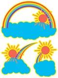 Nube del sol del arco iris stock de ilustración