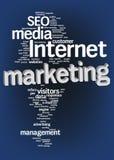 Nube del texto de la comercialización del Internet Imagenes de archivo