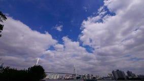 Nube del vuelo, envío en el río, a través del puente del mar en Shangai almacen de metraje de vídeo