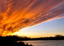 Nube di Firey nel cielo Fotografia Stock Libera da Diritti