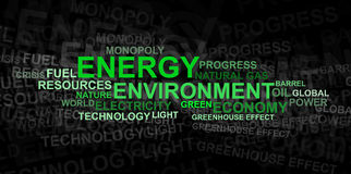 Nube di parola del â dell'ambiente e di energia Fotografia Stock