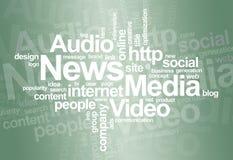 Nube di parola del â di media e di notizie Fotografia Stock Libera da Diritti