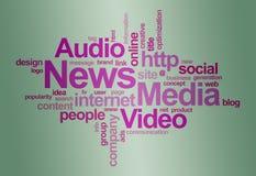Nube di parola del â di media e di notizie Immagini Stock
