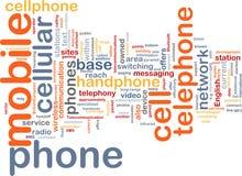 Nube di parola del telefono mobile Fotografie Stock Libere da Diritti