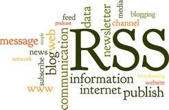 Nube di parola dell'alimentazione di Rss Fotografie Stock Libere da Diritti