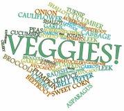 Nube di parola per le verdure o i Veggies illustrazione vettoriale
