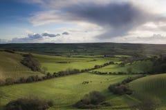 Nube di tempesta sopra Dorset ad ovest Fotografie Stock