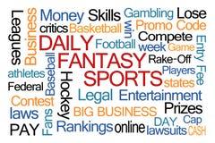 Nube diaria de la palabra de los deportes de la fantasía Fotografía de archivo libre de regalías