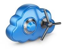 Nube e serratura. Assicuri il concetto. icona 3D isolata Immagini Stock