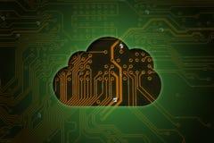 Nube en fondo del circuito ilustración del vector