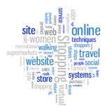 Nube en línea de la palabra que hace compras Imagen de archivo