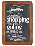 Nube en línea de la palabra que hace compras Imagenes de archivo