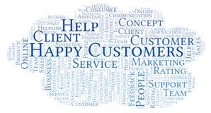 Nube feliz de la palabra de los clientes ilustración del vector