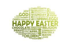 Nube feliz de la palabra de Pascua cortada de un huevo de Pascua verde libre illustration